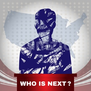 Digital vector usa election with who is next, candidate tribune, flat style Stock Vector