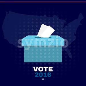 Digital vector usa election with vote box 2016, flat style Stock Vector
