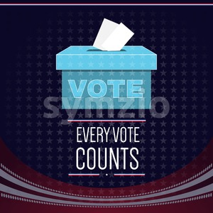 Digital vector usa election with vote box and every vote counts, flat style Stock Vector