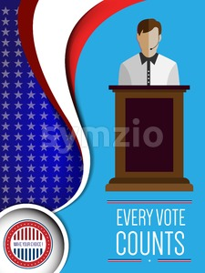 Digital vector usa election with candidate tribune and every vote counts, flat style Stock Vector