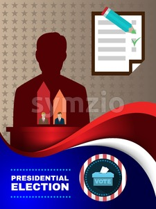 Digital vector usa election with candidate charts and every vote counts, vote box, flat style Stock Vector