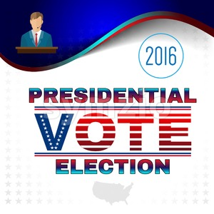 Digital vector usa election with candidate tribune and presidential vote, flat style Stock Vector