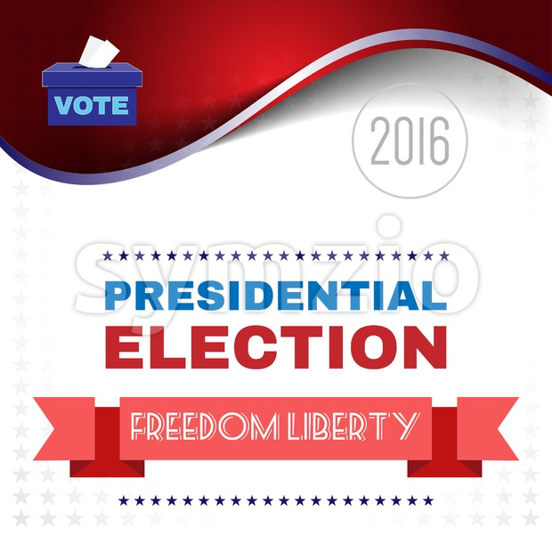 Digital vector usa election with presidential vote box and freedom and liberty, flat style Stock Vector