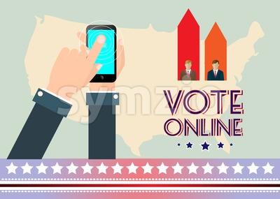 Digital vector usa election with vote online, hand on mobile phone, flat style Stock Vector