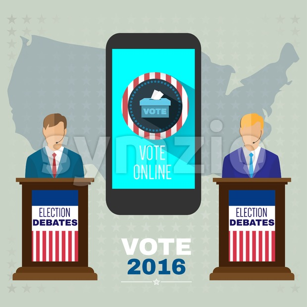 Digital vector usa election with vote online, candidates debates tribune and mobile phone, flat style Stock Vector