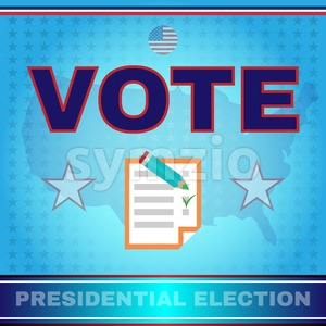 Digital vector usa election with every vote counts, presidential vote checkbox, flat style Stock Vector