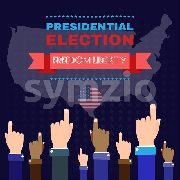Digital vector usa election with hand in the air pointing, freedom liberty, flat style