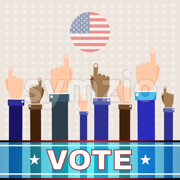 Digital vector usa election with hand in the air pointing, vote, flat style Stock Vector