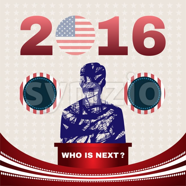 Digital vector usa election with republican and democrat, who is next, flat style Stock Vector