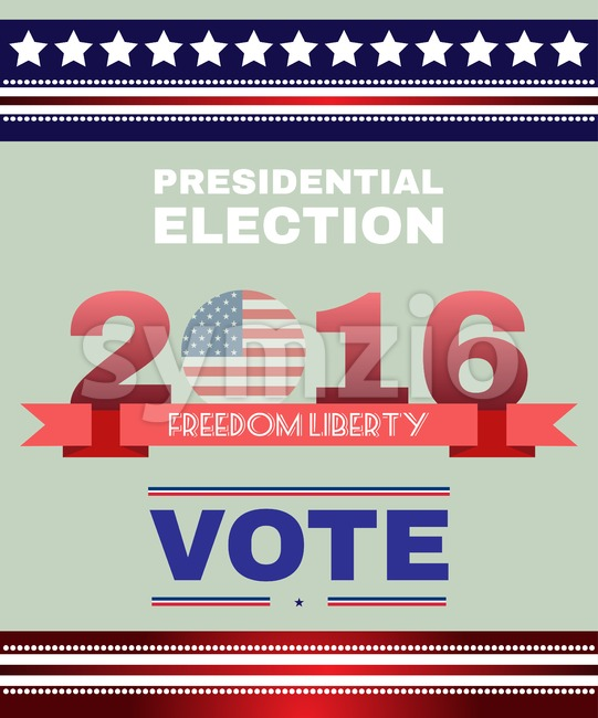 Digital vector usa election with presidential vote, freedom, liberty, flat style Stock Vector