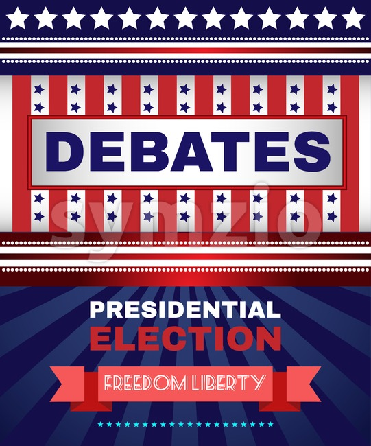 Digital vector usa election with presidential debates, freedom and liberty, flat style Stock Vector