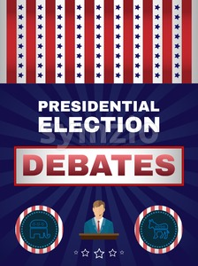 Digital vector usa election with presidential debates, candidate tribune, republican and democrat, flat style Stock Vector