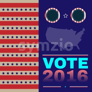 Digital vector usa election with presidential debates, democrat and republican, flat style Stock Vector