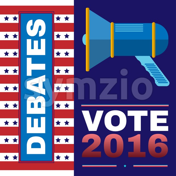 Digital vector usa election with presidential debates, megaphone, flat style Stock Vector