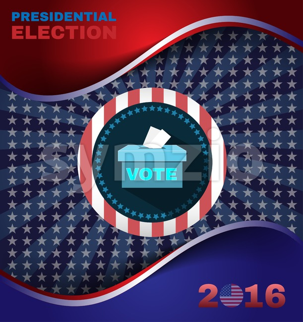 Digital vector usa election with presidential vote box, flat style Stock Vector