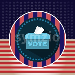 Digital vector usa presidential election 2016 vote box, flat style Stock Vector