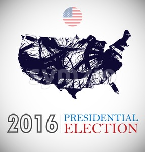 Digital vector usa presidential election 2016 with country flag and map, flat style Stock Vector