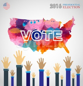 Digital vector usa presidential election 2016 with abstract country map and hands in the air, flat style Stock Vector