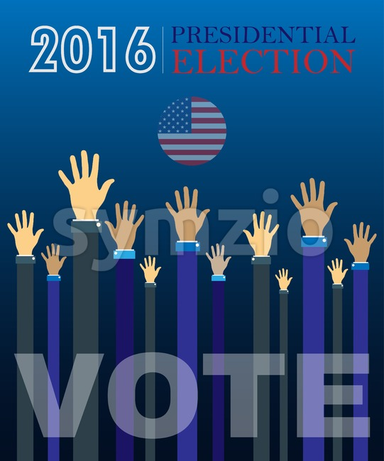 Digital vector usa presidential election 2016 vote with hands in the air, flat style Stock Vector