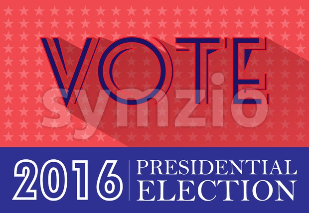 Digital vector usa presidential election 2016 with vote and stars, flat style Stock Vector