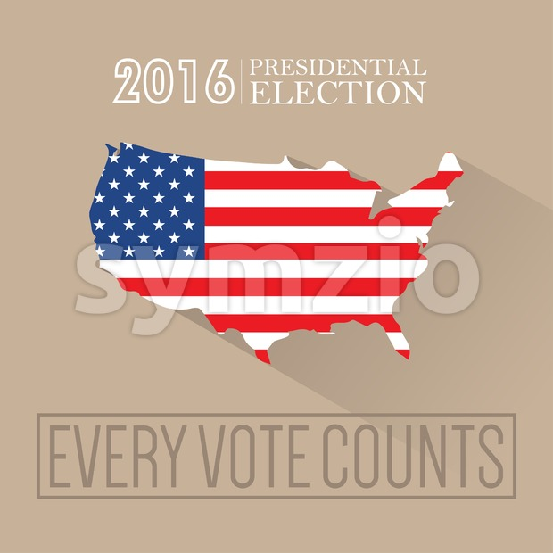 Digital vector usa presidential election 2016 with every vote counts and flag, flat style Stock Vector