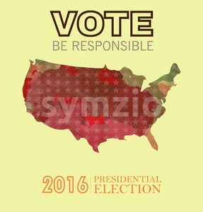 Digital vector usa presidential election 2016 with vote be responsible, flat style Stock Vector