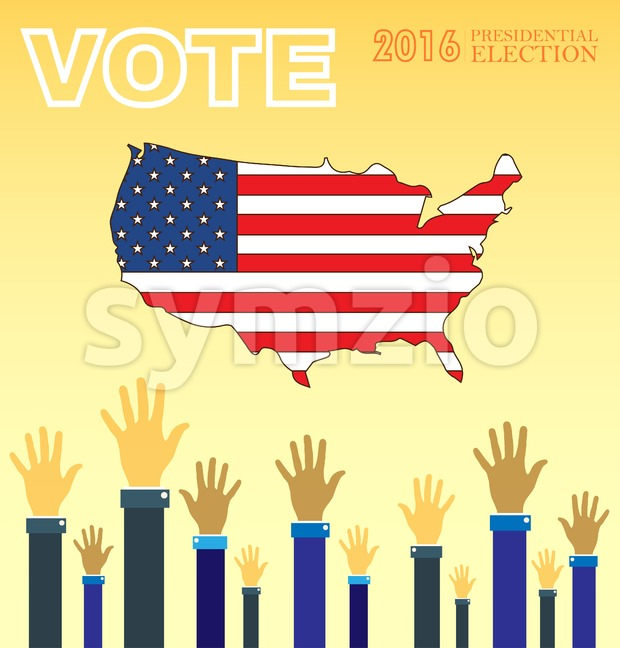 Digital vector usa presidential election 2016 with vote and hands in the air, flat style Stock Vector