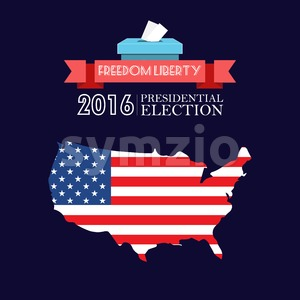 Digital vector usa presidential election 2016 with freedom, liberty and flag, flat style Stock Vector