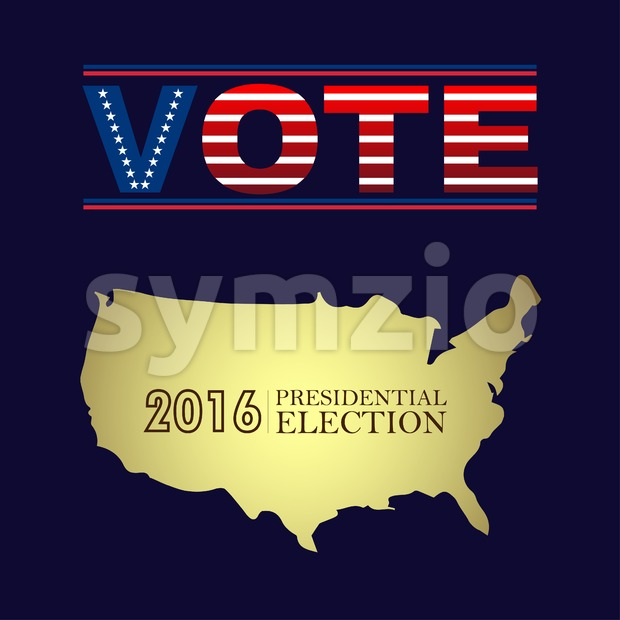 Digital vector usa presidential election 2016 with vote and country map, flat style Stock Vector