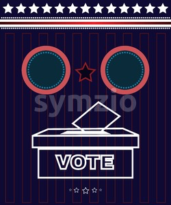 Digital vector usa presidential election 2016 with vote box and democrat vs republican, flat style Stock Vector