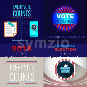 Digital vector usa presidential election with every vote counts, mobile phone and make your choice, flat style Stock Vector