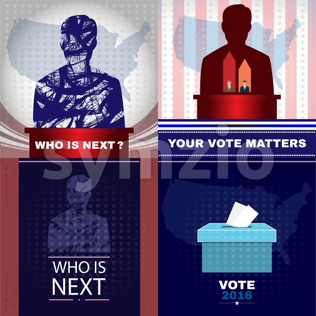 Digital vector usa presidential election with who is next, flat style Stock Vector