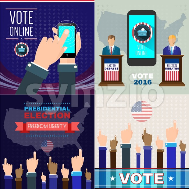 Digital vector usa presidential election with vote online, flat style Stock Vector
