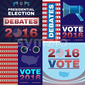 Digital vector usa presidential election with debates 2016, flat style Stock Vector