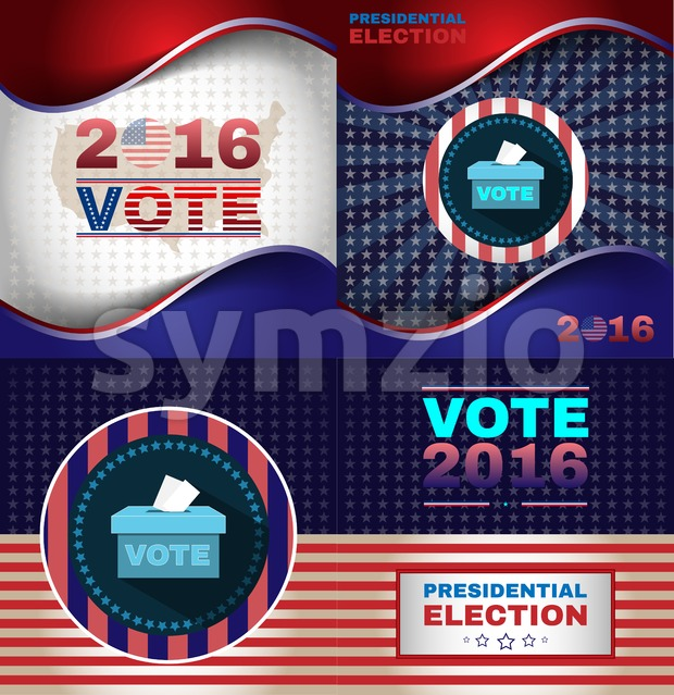 Digital vector usa presidential election with vote box, flat style Stock Vector