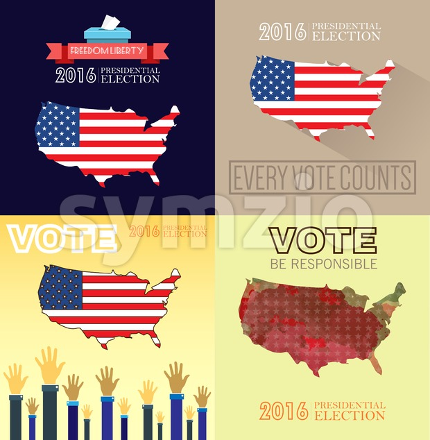 Digital vector usa presidential election with every vote counts, flat style Stock Vector
