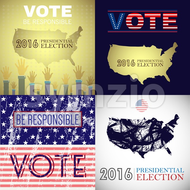 Digital vector usa presidential election with vote be responsible, flat style Stock Vector