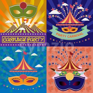 Digital vector mask sets over green and orange background with clouds, rio carnival party, toucan birds and brazilian flag, flat style Stock Vector