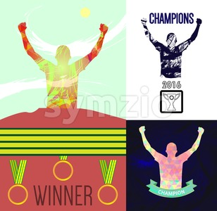 Digital vector, abstract winner sportsmen with hands in the air set, medals, flat style Stock Vector