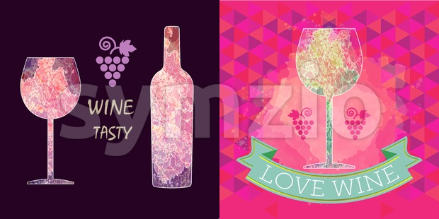 Wine tasting card set, grape sign, purple bottle over dark background with a purple glass. Digital vector image. Stock Vector
