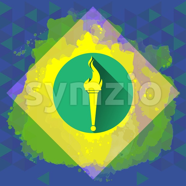 Digital vector yellow burning torch, over colored background, flat style Stock Vector