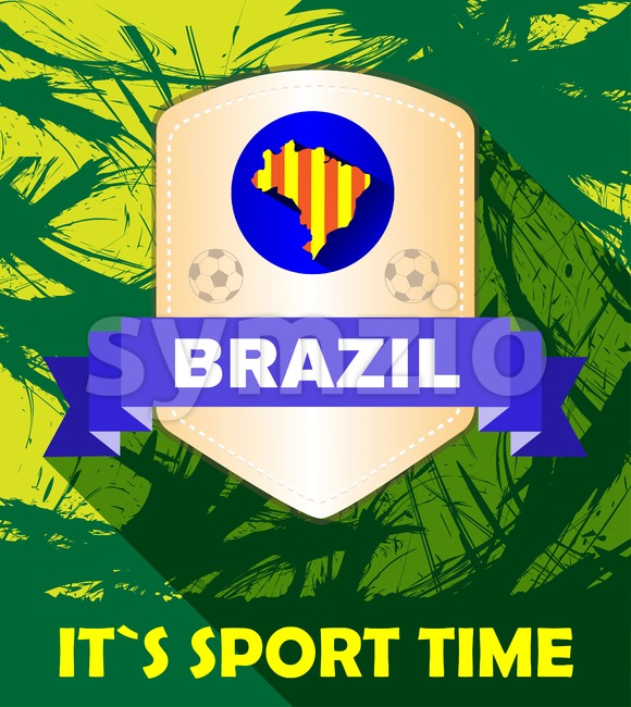 Digital vector brasil it is sport time, footbal and soccer, country flag, flat style Stock Vector
