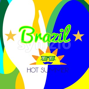 Digital vector brazil hot summer with sun and national colors, flat style Stock Vector