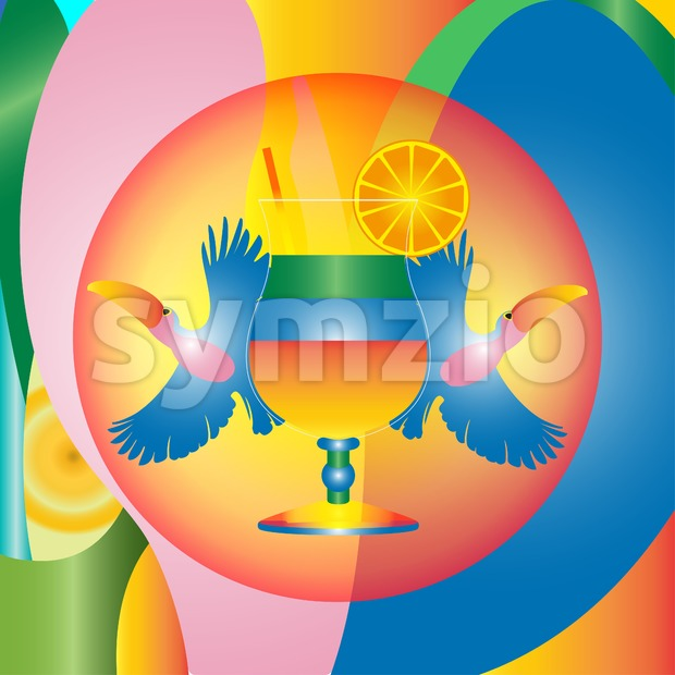Digital vector brazil hot summer with cocktail and toucan birds, flat style Stock Vector