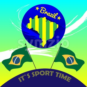 Digital vector brasil it is sport time, country flag, flat style Stock Vector