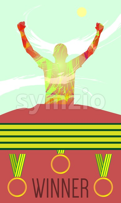 Digital vector, abstract winner sportman with hands in the air, medals, flat style Stock Vector