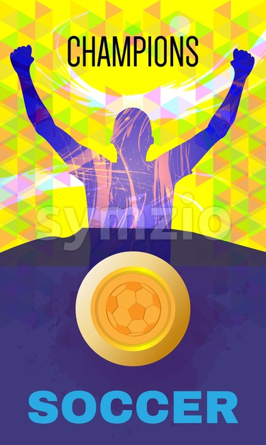 Digital vector, abstract winner sportman champions with hands in the air, ball, flat style Stock Vector