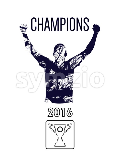 Digital vector, abstract winner sportman champion with hands in the air, flat style Stock Vector