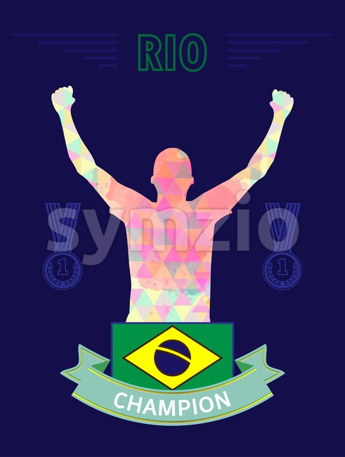 Digital vector, abstract rio winner sportman champion with hands in the air and flag of brazil, flat style Stock Vector
