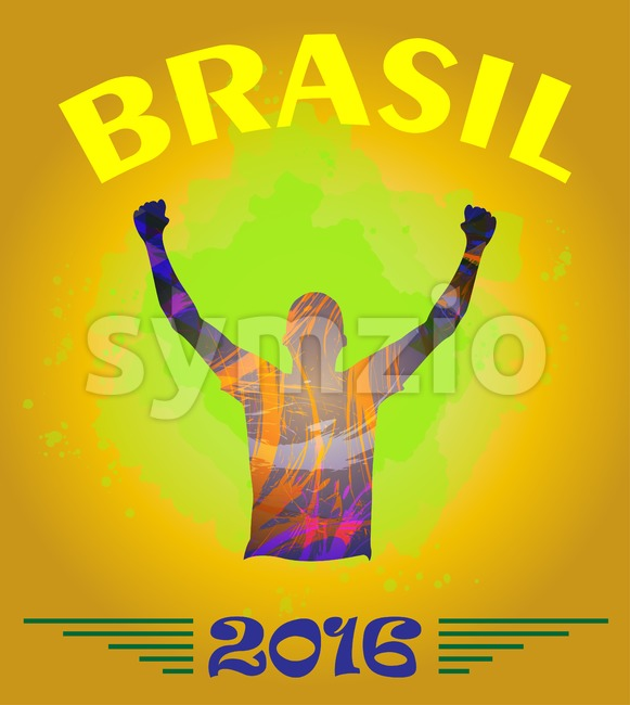 Digital vector, abstract brasil 2016 winner sportman champion with hands in the air, flat style Stock Vector
